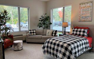 Modern stylish bedroom in assisted living facility senior community apartment modern design minnesota