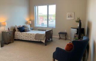 Bedroom in senior living apartment modern style interior assisted living community minnesota
