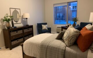 Bedroom in senior living apartment with modern design stylish interior assisted living community golden valley minnesota