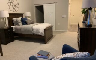 Senior living community apartment bedroom modern sophisticated style design assisted living senior care facility