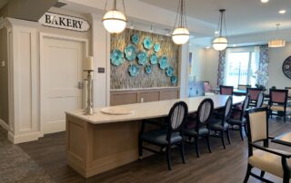 Senior assisted living facility community apartments common area stylish living breakfast bar
