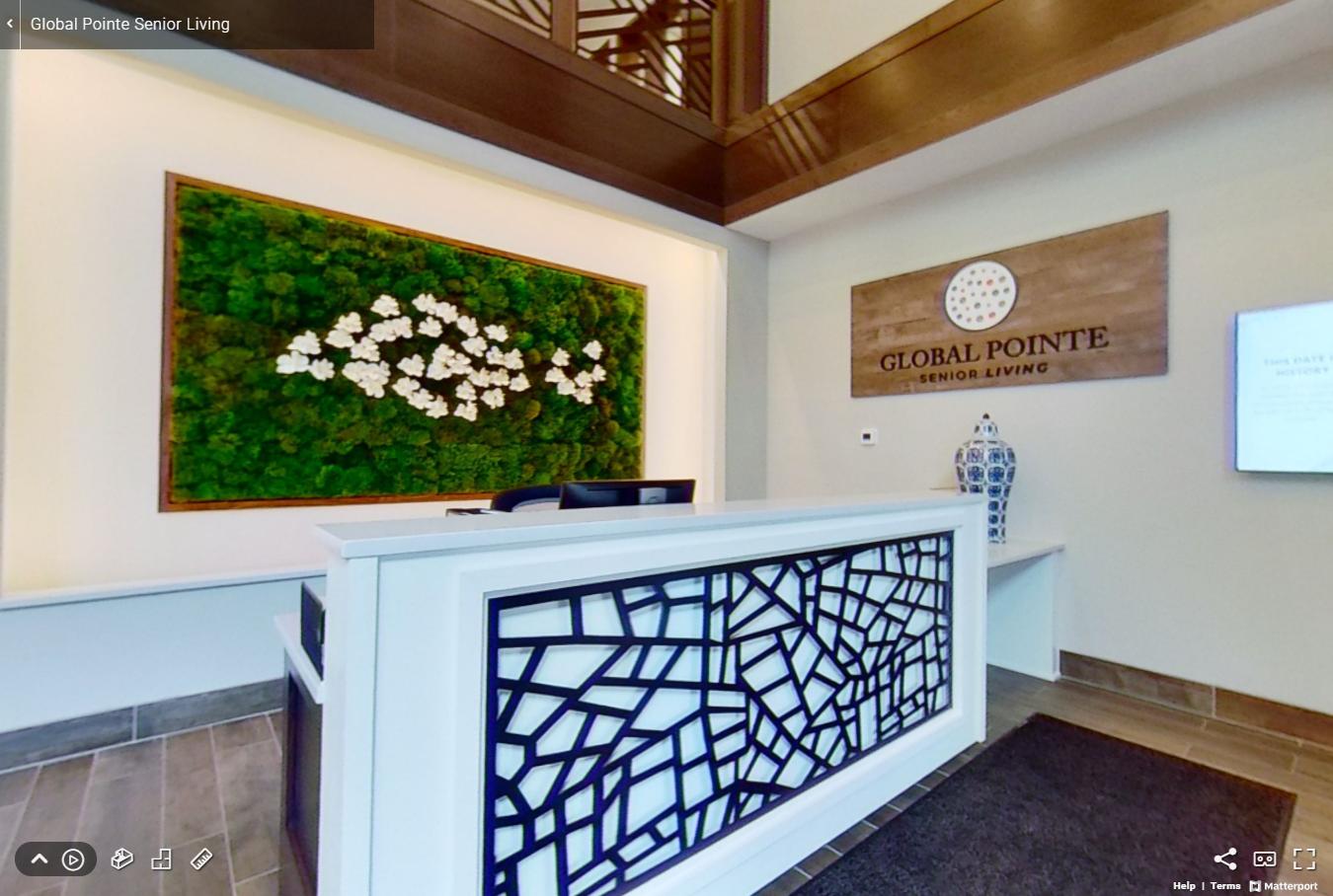 senior living assisted living apartments residence community lobby check in desk stylish modern